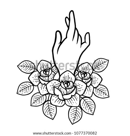 Rose Tattoo Hand Traditional Black Dot Stock Vector Royalty Free