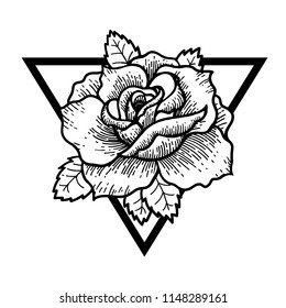 Rose Tattoo, mystic symbol. Boho print, poster, t-shirt. textiles. Vector illustration art. Vintage engraving. Vintage style. Traditional art tattoos. Blackwork.