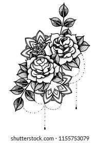 Rose Tattoo, mystic symbol. Flower with string of beads. Flower Mandala. Vintage decorative elements. Vector illustration art. Traditional art tattoos.
