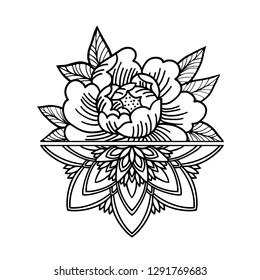 Rose Tattoo, mystic symbol. Flower with string of beads. Flower Mandala. Vintage decorative elements. Vector illustration art. Traditional art tattoos.