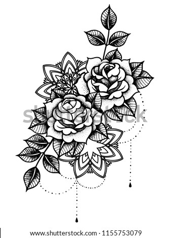 Rose Tattoo Mystic Symbol Flower String Stock Vektorgrafik