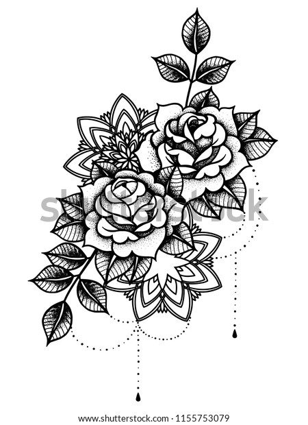 69cd0ad36fc96 Rose Tattoo, mystic symbol. Flower with string of beads. Flower Mandala.  Vintage