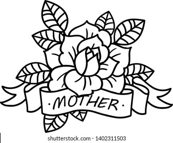 25d472f6b23f8 Rose tattoo with ribbon and word Mom and Mother. Vector illustration art.  Vintage engraving