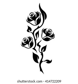 Rose Tattoo. Silhouette of branch with three flowers of roses and leaves. There are stylized thorns.