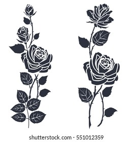 Rose tattoo. Silhouette of roses and leaves on a white background.