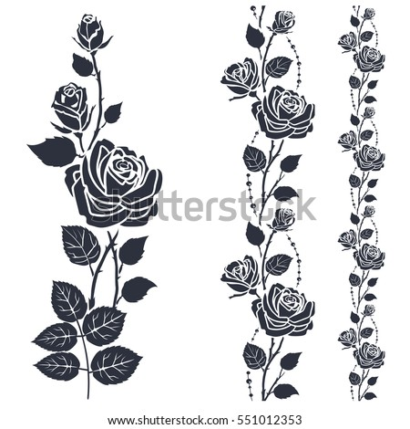 rose tattoo silhouette roses leaves on stock vector. Black Bedroom Furniture Sets. Home Design Ideas