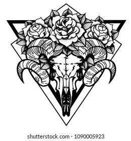 9b32e1d225cf7 Rose tattoo with skull of a sheep. Horns Traditional black dot style ink.  Roses