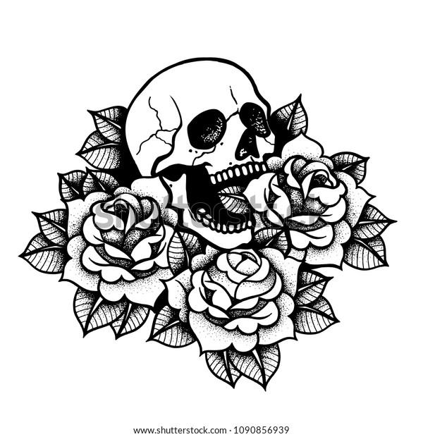 Image Vectorielle De Stock De Tatouage Rose Au Crane L Encre Noire 1090856939