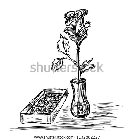 Rose Vase Box Chocolates Drawn Pencil Stock Vector Royalty Free