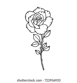 Rose vector illustration. Birthday card. Doodle style. Design icon, print, logo, poster, symbol, decor, textile, paper.