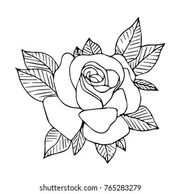 Rose vector illustration. Doodle style. Design, print, logo, decor, textile, paper