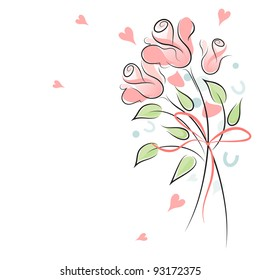 Rose wedding background with confetti