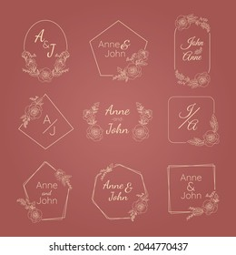 rose wedding monogram wreath luxury collection set flower border for logo wedding, florist shop or business card