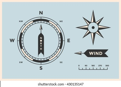 Rose Wind and Compass. Set of vintage arrows, symbols, objects for Navigation. Design elements in retro style for navigation theme on color background. Vector Illustration