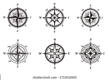 Rose of wind, nautical equipment, compasses isolated icons vector. Marine navigation, direction pointer, North and South, West and East. Sailing compact old device for orientation in sea or ocean