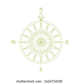 Rose of Wind. A sign that is usually displayed on maps. Compass. Icon