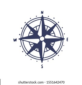 Rose of wind vector icon. Minimalist compass illustration with cardinal points, direction signs isolated on white background. Traditional navigation nautical journey emblem. Sailors lifestyle symbol.