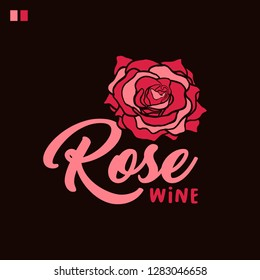 Rose wine lettering color vector illustration. Flower paint drawing. Handwritten calligraphy. Pink rosebud hand drawn clipart on brown background. Poster, banner, greeting card floral design element