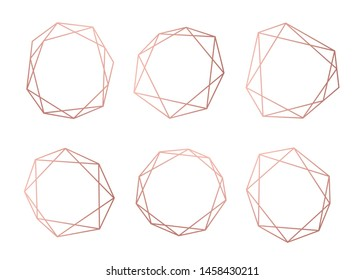 Rosegold collection of geometrical polyhedron, art deco style for wedding invitation, luxury templates, decorative patterns, Vector