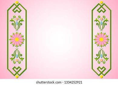 Rosemaling background with floral ornaments in traditional norwegian folk style.