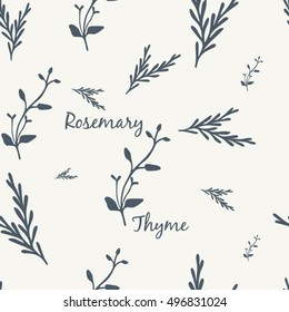 Rosemary and Thyme Simple Elegant Seamless Pattern Vector Illustration