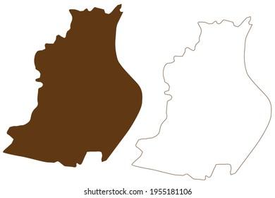 Rosenheim City (Bundesrepublik Deutschland, Stadtbezirk Oberbayern, Freistaat Bayern), Vektorgrafik, Skizze Rosenheim Karte