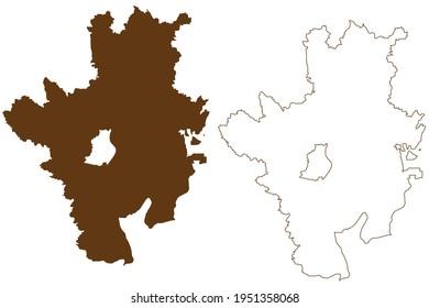 Rosenheim Bezirk (Bundesrepublik Deutschland, Landbezirk Oberbavaria, Freistaat Bayern), Vektorgrafik, Skizze Rosenheim Karte