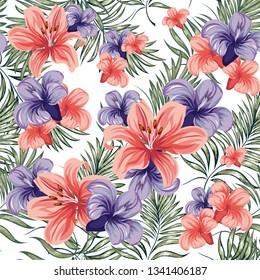 Roses. Blooming spring-summer flowers plants. Seamless pattern. Vector image.