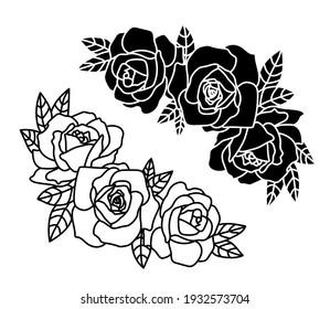 Roses border, flower design elements vector