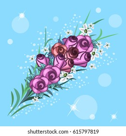 Roses bouquet. Vector flowers. Wedding bouquet.