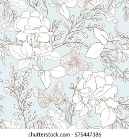 Roses and butterflies. Seamless pattern, background, in light vintage colors. Stock vector.