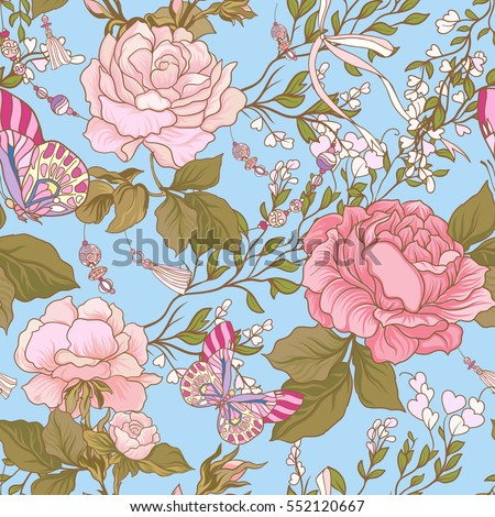 Roses Butterflies Seamless Pattern Background Purple Stock Vector