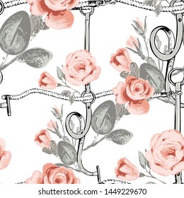 Roses check tartan fabric. Leather belt cross rope seamless pattern. Baroque fabric design. Vintage floral sketch seamless pattern on white background. Flowers on belts, nature and art.
