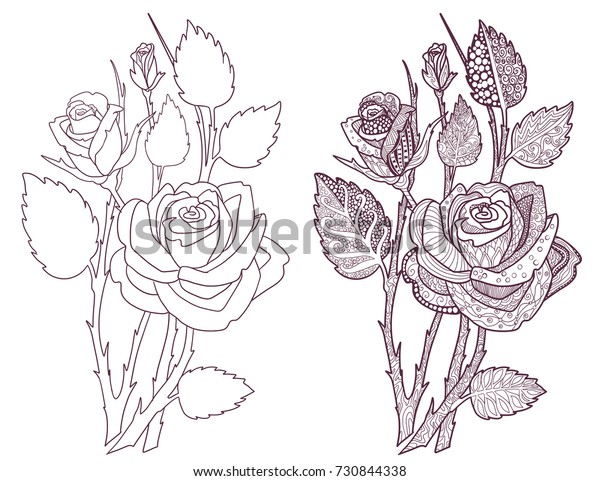 Roses Coloring Book Page Decorative Ornamental Stock Vector