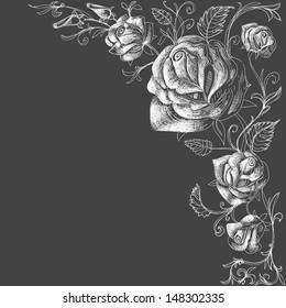 Roses decoration over dark background vector