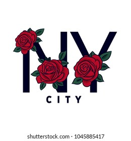 Roses embrodery design with typography. New York City.