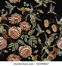 Roses embroidery seamless pattern. Classical embroidery vintage buds of roses and humming birds. Fashionable template for design of clothes, t-shirt design, tapestry flowers renaissance style