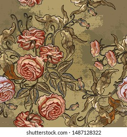 Roses embroidery seamless pattern. Fashionable medieval template of clothes, t-shirt design, tapestry flowers, renaissance style