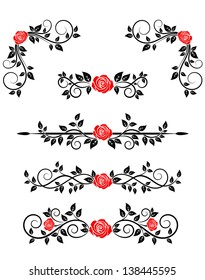 Roses with floral embellishments and borders for design. Jpeg (bitmap) version also available in gallery