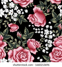 Roses and Whıte Flower Seamless Fabric Print Pattern. Black Background
