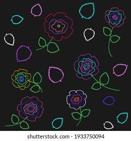 Roses flowers dark seamless texture. Spring season pink purple blue violet flower on black background. Nature pattern decoration backdrop