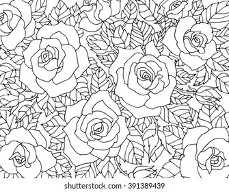 Roses flowers, floral pattern background. Vector artwork. Coloring book page for adult. Love bohemia concept for wedding invitation, card, ticket, branding, boutique logo, label.  Black, white