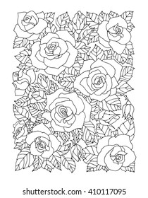Roses flowers, floral pattern. Vector rose flower artwork. Coloring book page for adult. Love bohemia concept for wedding invitation, card, ticket, branding, boutique logo, label.  Black, white roses