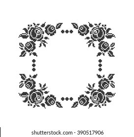 Roses. Flowers. Frame. Cross stitch. Scheme of knitting and embroidery. Vector.