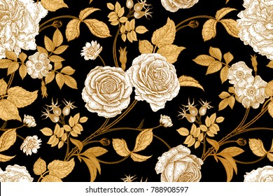 Roses, flowers, leaves, branches and berries of dog rose. Floral vintage seamless pattern. Gold, lack and white. Oriental style. Vector illustration art. For design textiles, paper, wallpaper.