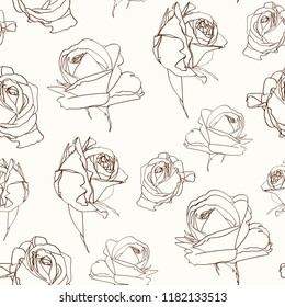 Roses flowers seamless pattern texture. Brown sepia outline on beige background. Blooming spring summer line flowers illustration. Vector design illustration for fashion, decoration, fabric, textile.