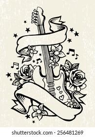 Roses & Guitar Rock & Roll Tattoo Template