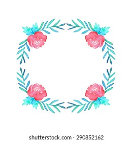 Roses. Hand-drawn floral wreath. Real watercolor drawing.  Vector illustration. Traced painting