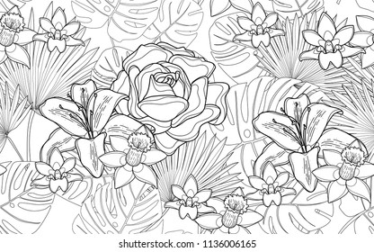 Roses, hawaiian flowers and monstera leaves. Big leaves and exotic flowers composition. Vector illustration. Botanical seamless wallpaper. Digital nature art. Cartoon style sketch. White background.