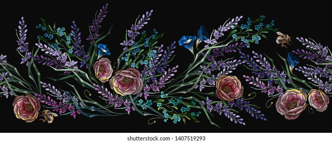 Roses, lavander and blackberry seamless pattern. Template for design of clothes and t-shirt design. Embroidery autumn fashion art